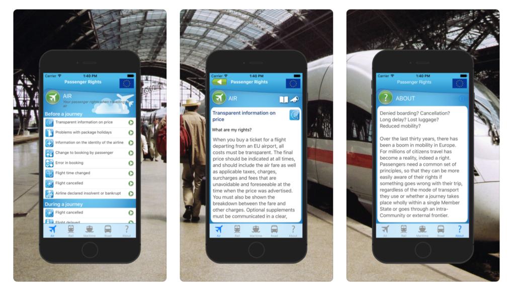 Skärmdumpar från appen för rättigheter att resa i EU