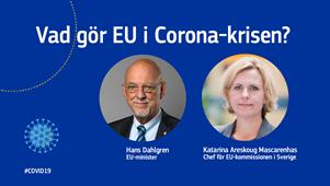 """Direktsänt seminarium onsdagen 1/4 """"Vad gör EU för att motverka Coronapandemin?"""""""