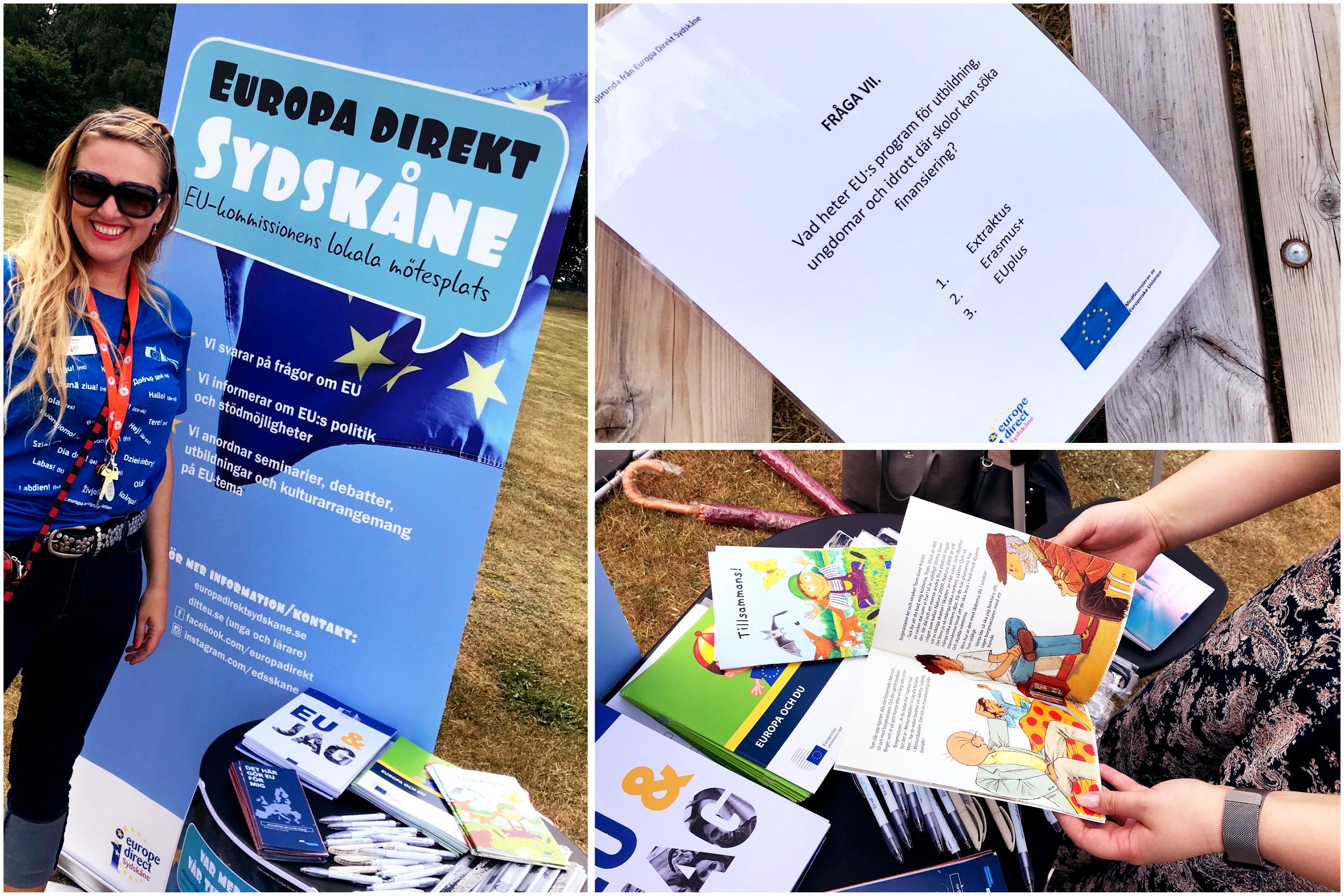 Bild på Europa Direkt Sydskånes kommunikatör med infobord, närbild på tipsrundelapp och besökare som bläddrar i information