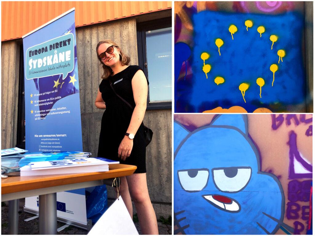 Bild på medaretare från ED Sydskåne och ett infobord samt två olika grafittimålningar. En på en EU-flagga och en på en katt.