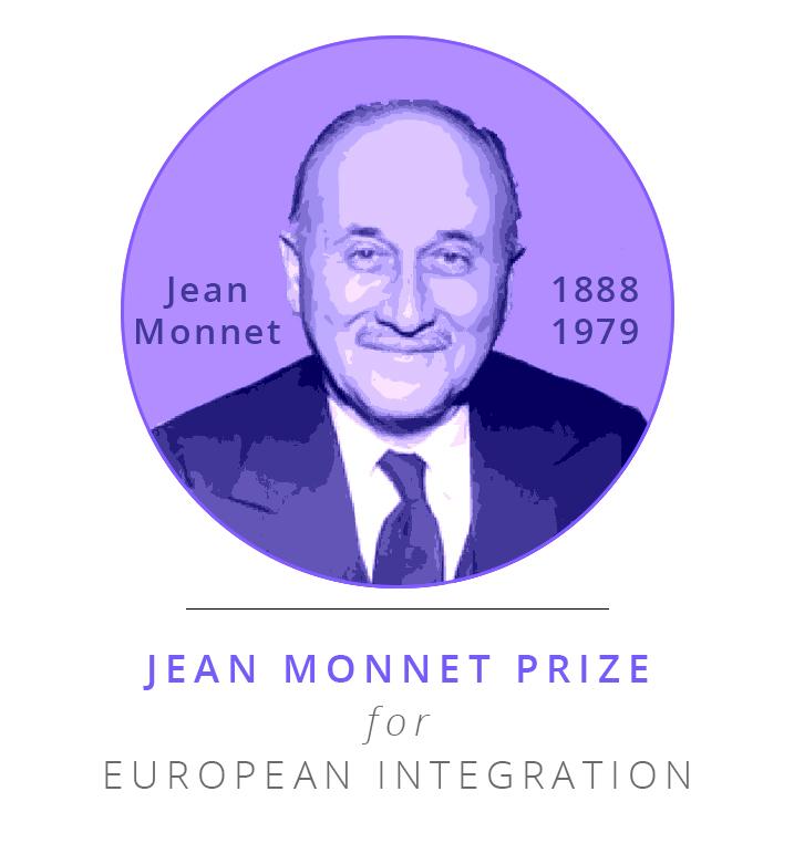 """Bild av Jean Monnet med texten """"Jean Monnet Prize for European Integration"""""""