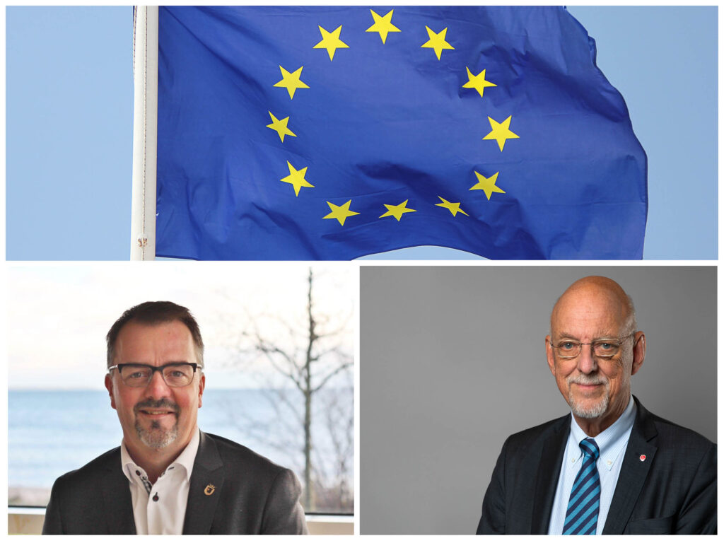 Magnus Weberg (foto: Sjöbo Kommun), Hans Dahlgren (foto: Kristian Pohl/Regeringskansliet) samt en EU-flagga