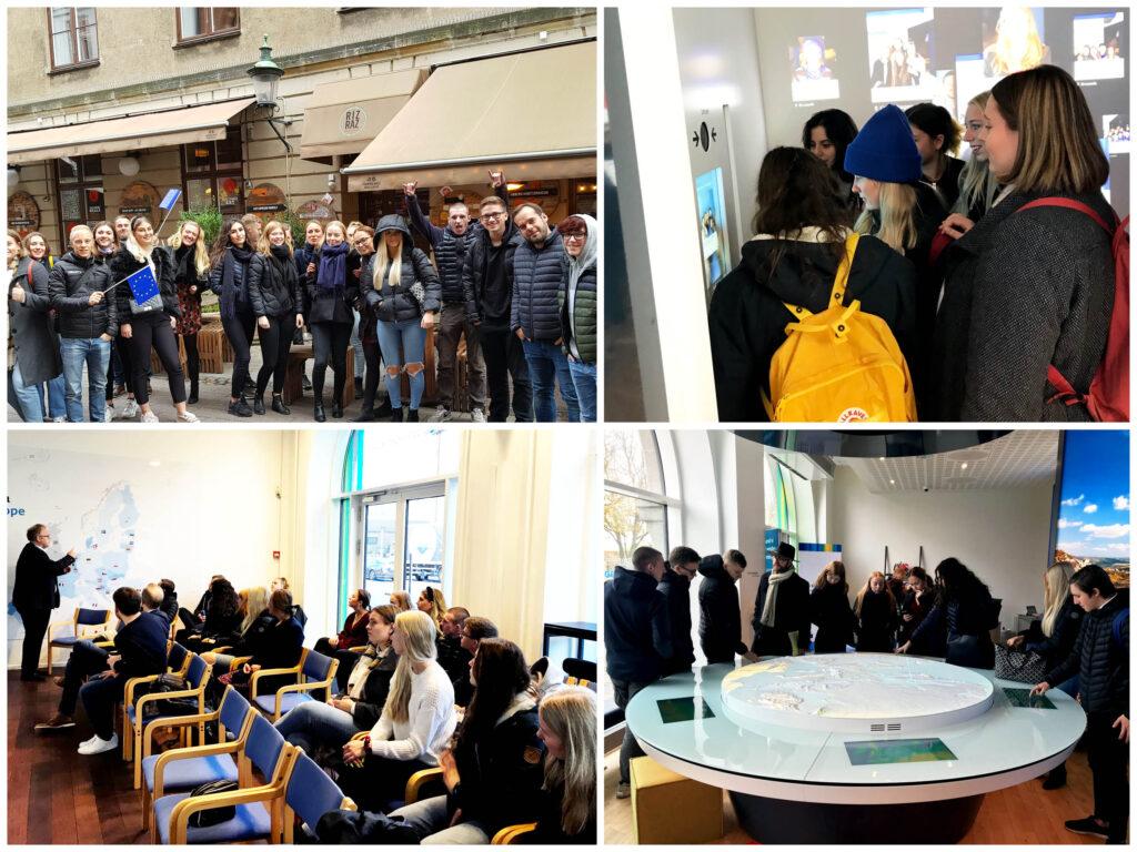 Bilder från EU-temadag på unga som besöker Europahuset och Nordiska huset