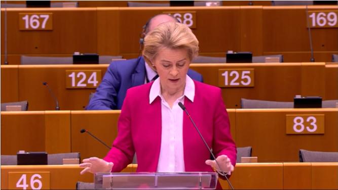 Ursula von der Leyen talar om hur Europa hanterar Covid19
