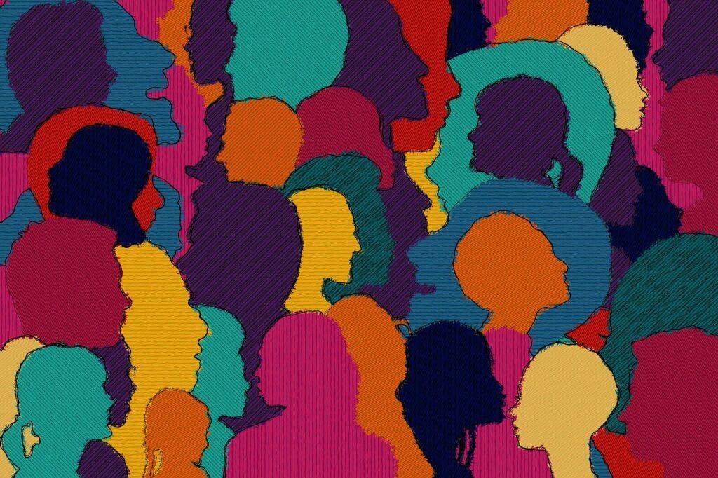 Illustration med siluetter av människor i olika färger