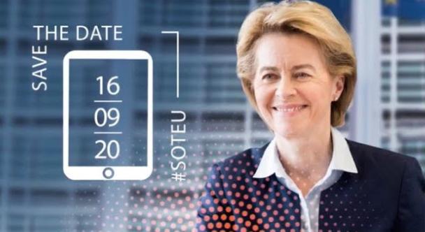 "Bild på Ursula von der Leyen med ""save the date"" och datumen 200916"